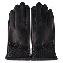 Sheepskin Gloves Male Winter Keep Warm Plush Lined Thicken Driving Touchscreen Genuine Leather Man M18009NC