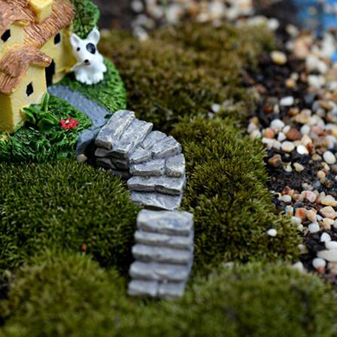 Hairy Hot Sale Stone Stairs Figures Miniature Figurine Mini Fairy Garden Microlandscape Tank Animal Statue Resin Hot Sale Mini Figurines Miniature Girl Mei Resin Crafts