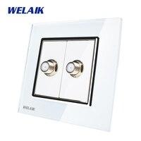 WELAIK Free Shiping Crystal Glass Panel 1Frame EU White Wall Socket Satellite Sockets Socket A182SAW
