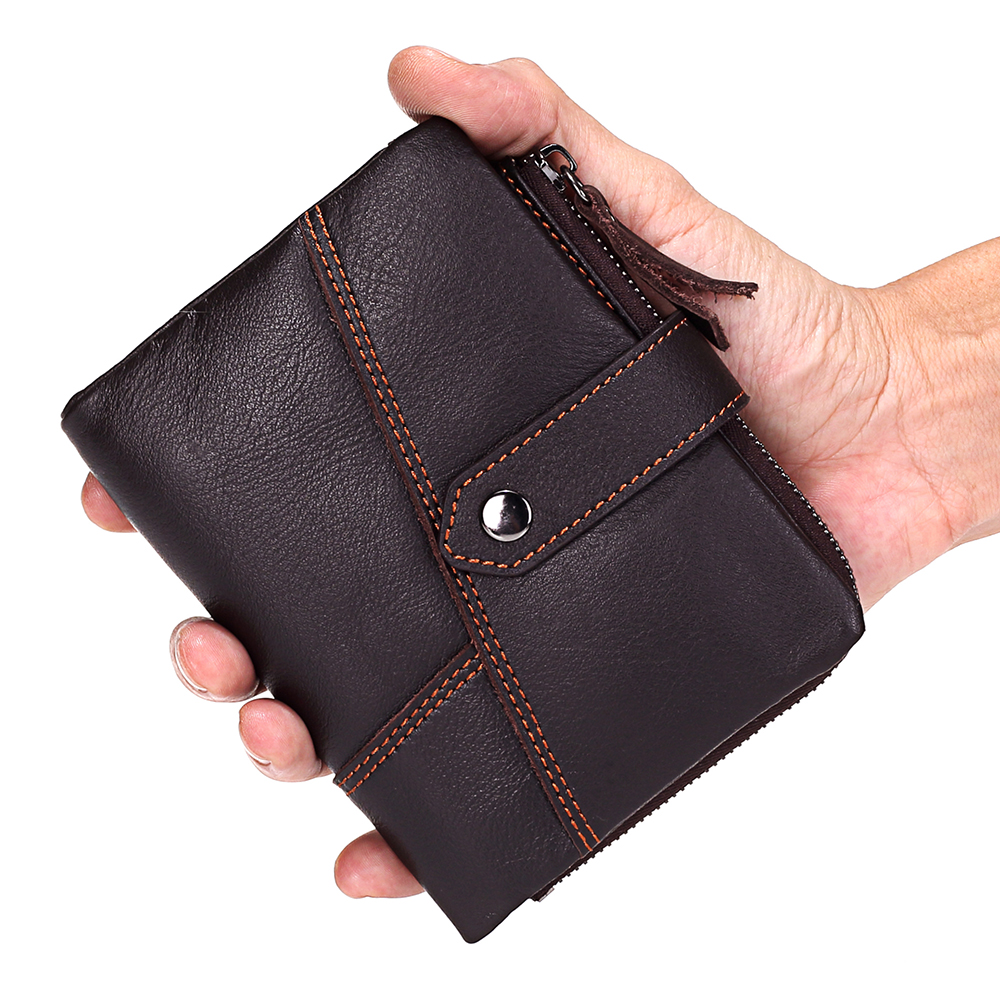 Men Wallet Genuine Leather Male Wallets Short Coin Purse Small Vintage Walet Mens Purse Zipper Coin Pocket Card Holder Purses