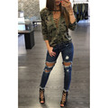 Fashion Sexy Women Long Sleeve Shirt Slim Casual V-Neck Blouse Camouflage Print Cotton Tops Feminina Bandage blouses tops