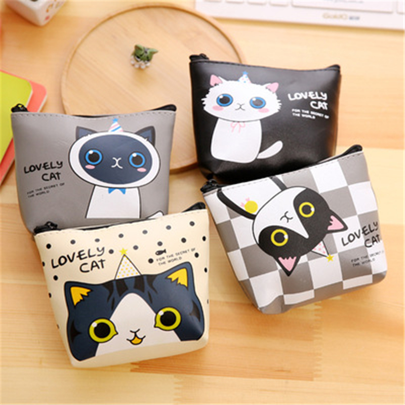 Dl Korean Stationery Creative Cute Cartoon Small Meow Pu Material Zero Wallet Receiving Key Bag Exquisite Office Supplies