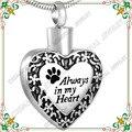 CMJ8480 30 unids corazón de acero inoxidable joyería de cremación de mascotas Perro/Gato urna de cenizas colgante (Con Caja de Regalo y embudo)