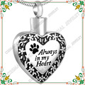 CMJ8480  30pcs stainless steel heart pet cremation jewelry  Dog/Cat ashes urn pendant (With Gift Box and funnel)