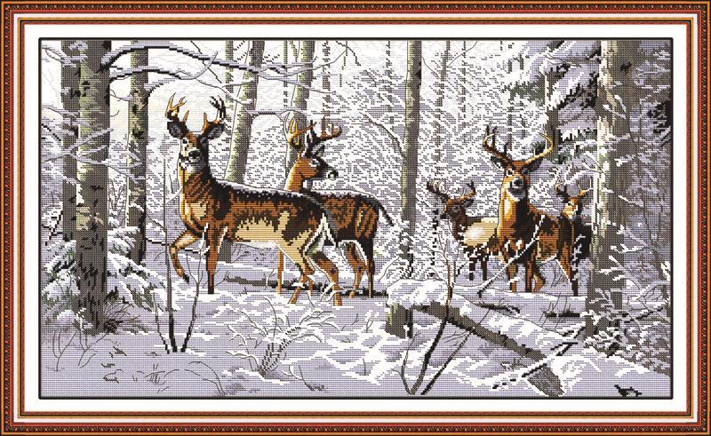 Zvířecí antilopy v sněhu počítají 11CT 14CT DMC Cross Stitch DIY Čína Cross Stitch výstroje pro vyšívání Vyšívání domácí dekorace