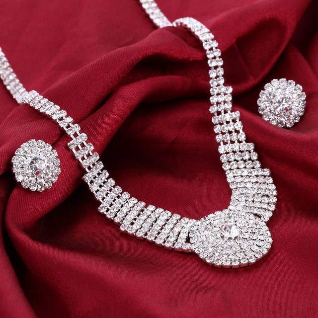 Big Off Rhinestone Cubic Zirconia Crystal Choker Necklace Earrings Wedding Jewelry Sets Bling Wedding Party Accessories Set