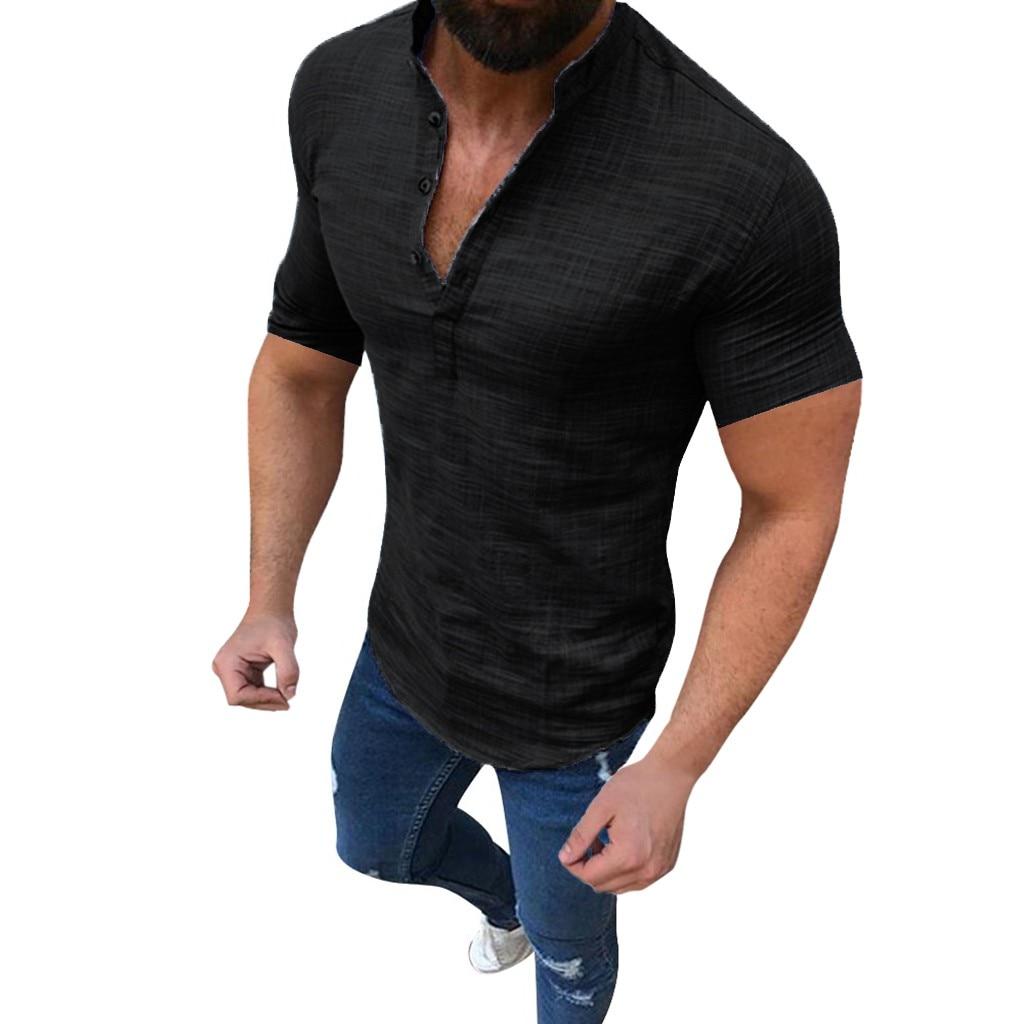Men's Casual Blouse Cotton Linen shirt Loose Tops Short Sleeve Tee Shirt S-2XL Spring Autumn Summer Casual Handsome Men Shirt 2