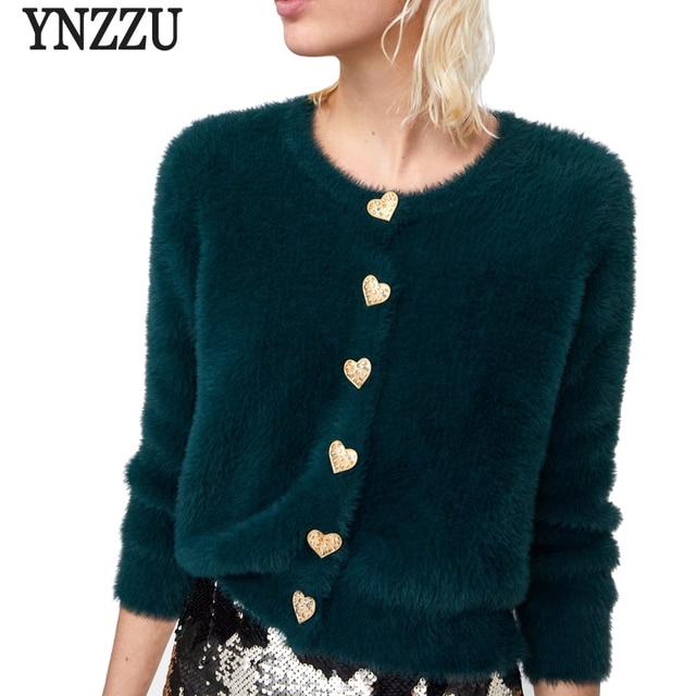 Chic Heart Buttons Furry Warm  Women's Sweater