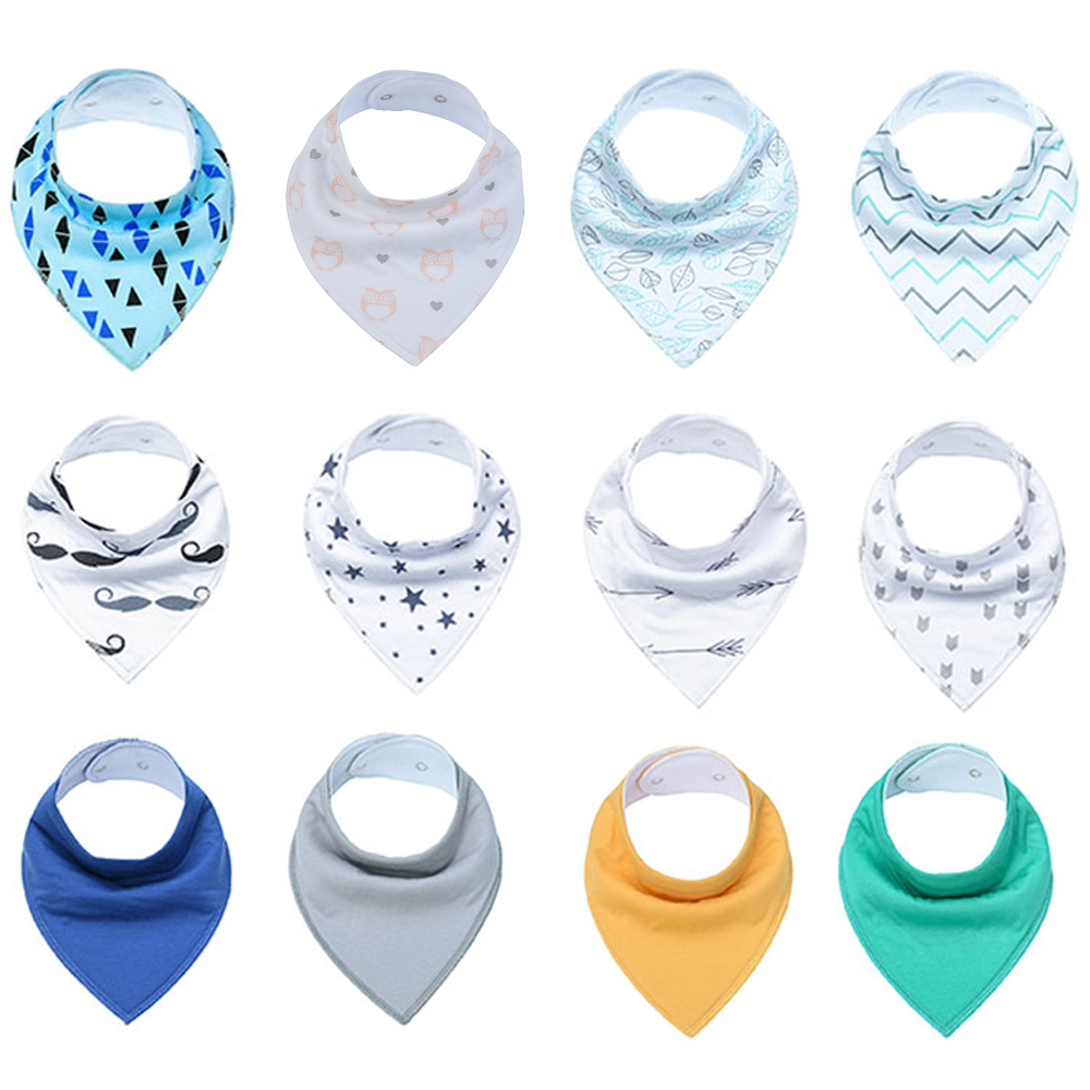 Image 4 - 12 Pack / Lot 100% Cotton Bandana Bibs for Drooling Teething Newborn Infant Adjstable Snaps Absorbent Baby Bibs-in Bibs & Burp Cloths from Mother & Kids