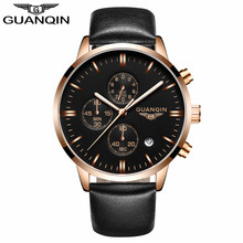GuanQin Unisex Leather Sport Watches Fashion Men Watches Top Brand Luxury Men Clock Quartz Wrist Watch Relogio Masculino