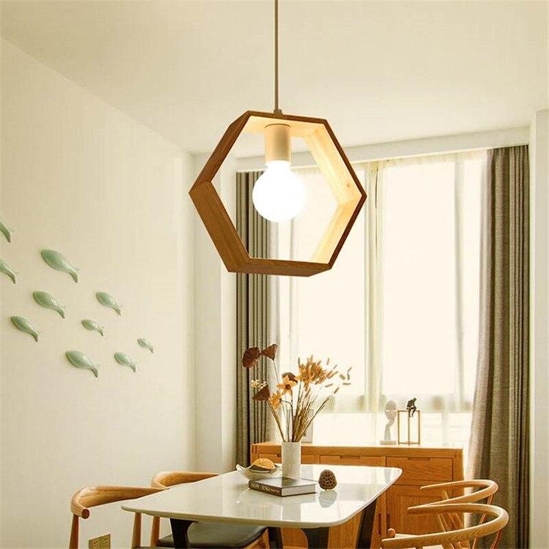 Star wish Nordic geometric wood pendant lamp holder design solid wood Kitchen dining room creative hunging