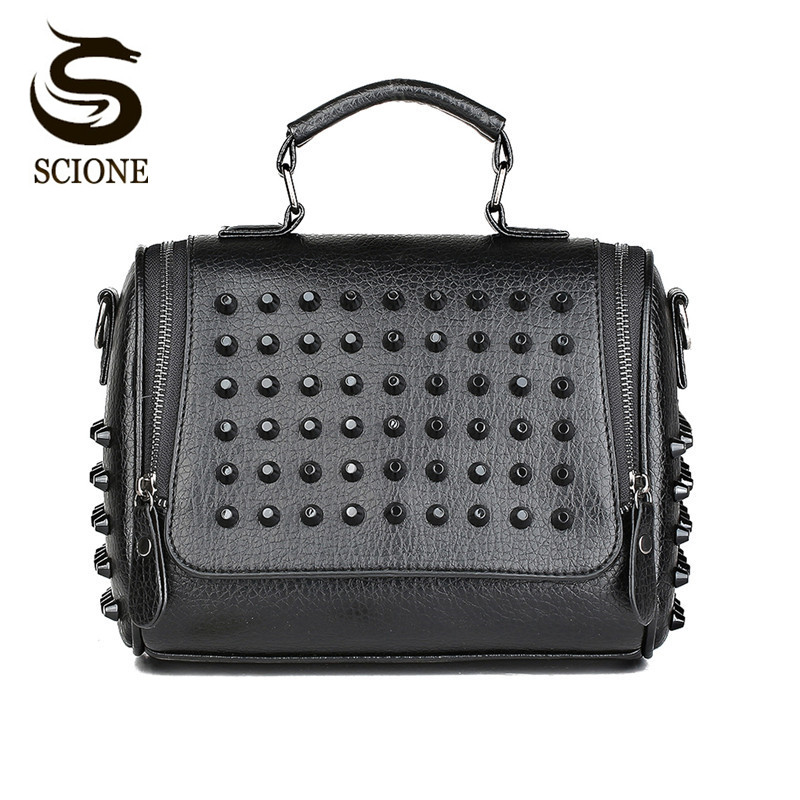 Hot Fashion Women Bag Rivet Studded Shoulder Bag Vintage Style PU Leather Handbags Female Crossbody Messenger Bags Tote JXY769