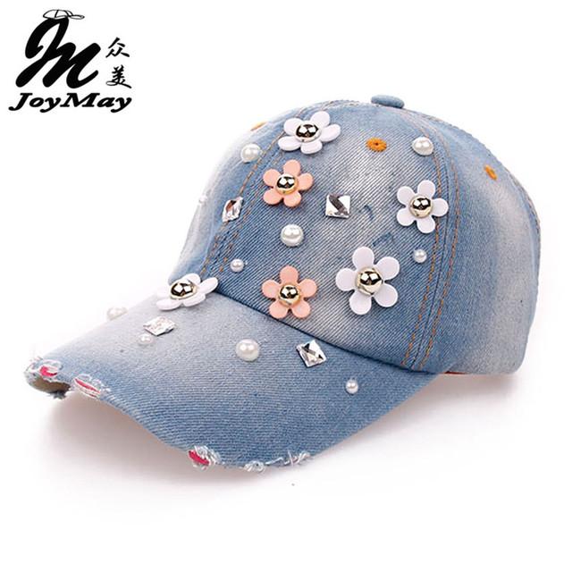 Atacado de alta qualidade Cap Hat Retail joymay Lazer Moda Pedrinhas Vintage Jean Algodão CAPS Boné de Beisebol Unisex B064