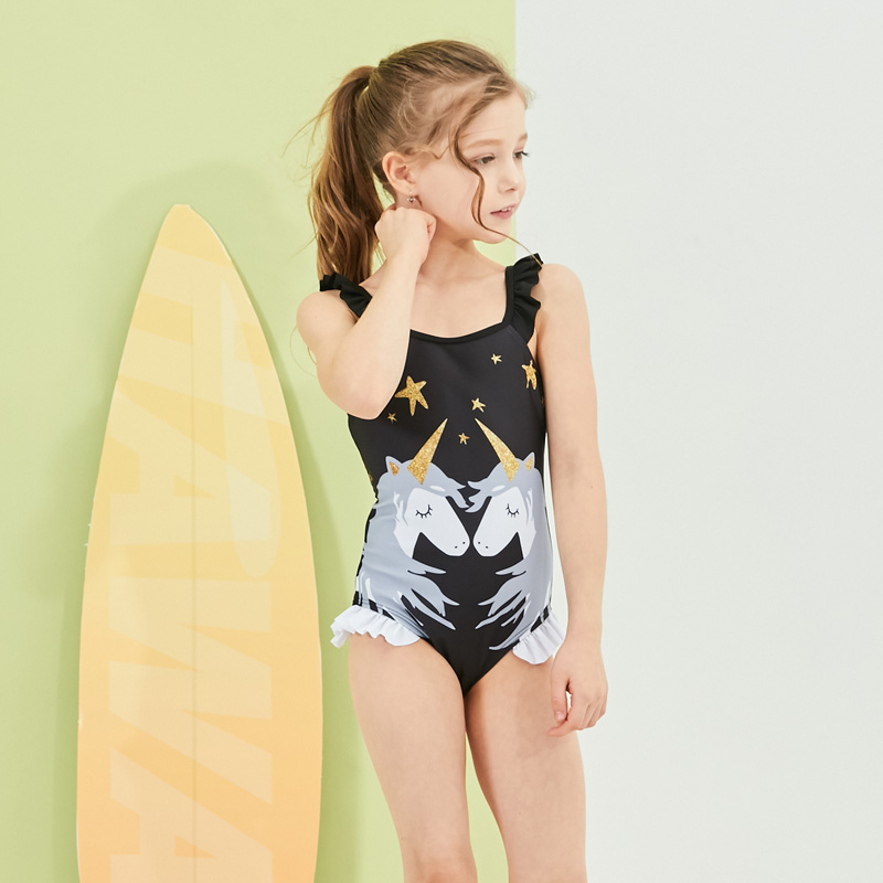 2019 New Kids Swimsuit Girls One Piece Swimwear Unicorn Bodysuit  Children Beachwear Sports Swim Suit Bathing Suit