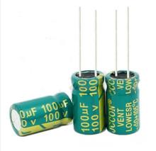 Wysokiej częstotliwości kryształ 100 uf 100 uf 100 v 100 v 100 uf 100 uf 100 v rozmiar 10X17 MM najlepsza jakość nowy origina tanie tanio Aluminium kondensator elektrolityczny 100UF 100V Ogólnego przeznaczenia Przez otwór -40-105 Naprawiono pojemnościowe