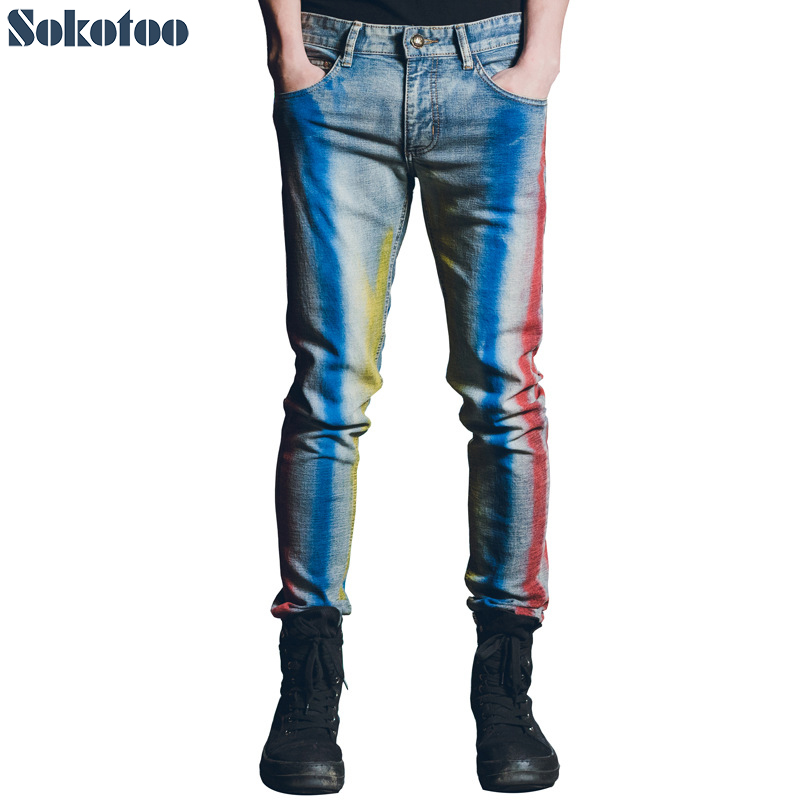 Sokotoo Mens fashion colored stripe painted printed jeans Slim straight rainbow stretch cotton denim pants