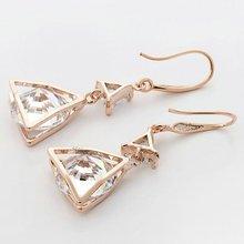 Rose Gold Crystal Dangle Earrings