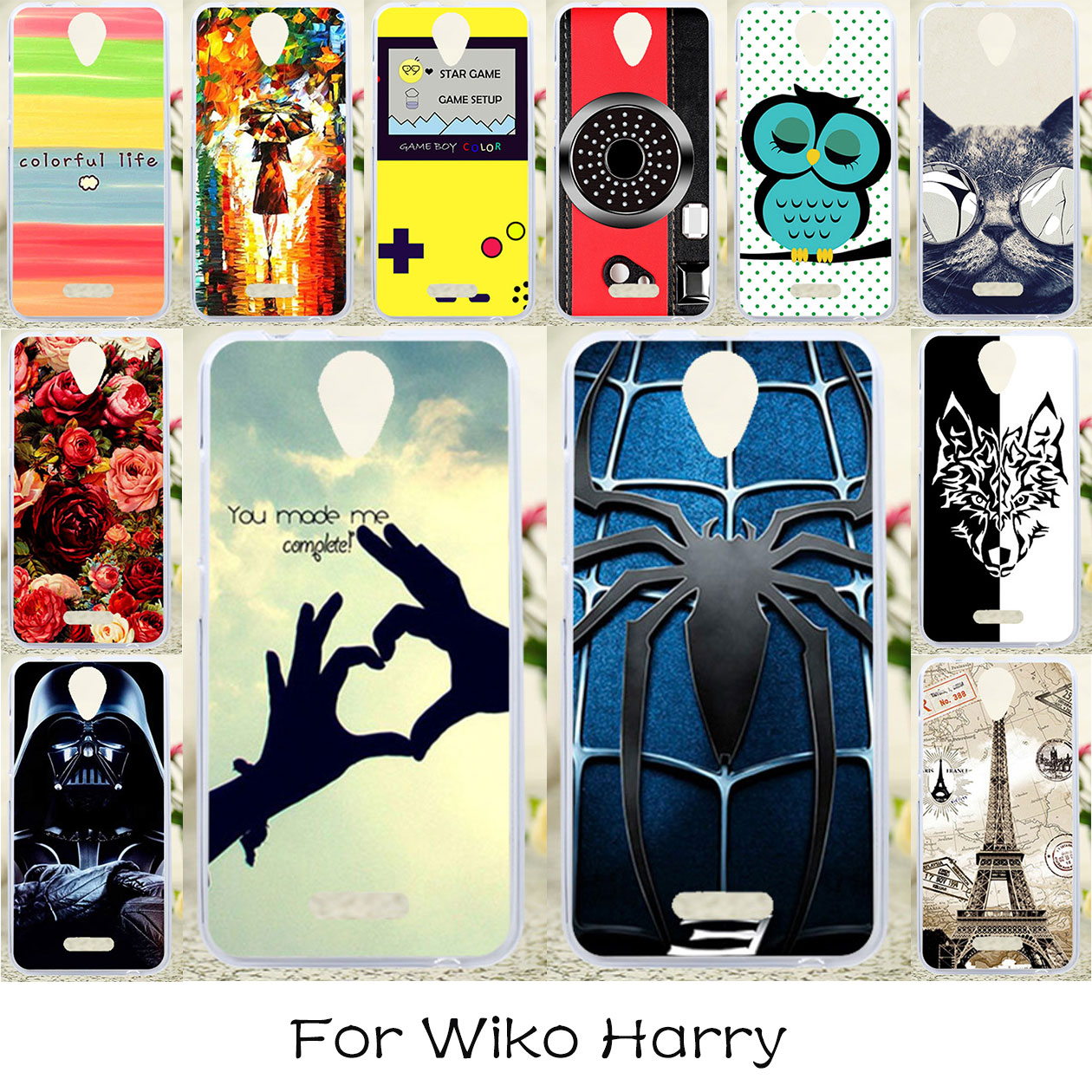 TAOYUNXI DIY Silicone Phone Covers Cases For Wiko Harry 5.0 INCH Flexible Housing Bag Anti-knock Cover Skin Case For Wiko Harry