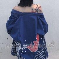 Summer Matsuri Japan Women 3 4 Sleeve Loose Blue Kimono Yukata Coat Outerwear