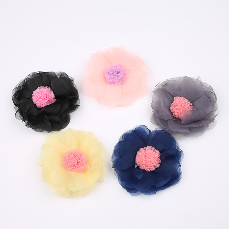 20pcs/lot Vintage Color Chiffon Flower with Lace Stamen Hair Accessories for Girl and Women