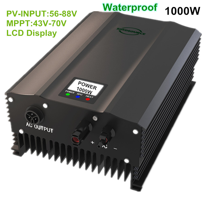 grid tie inverter 1000w PV:50V-88V DC to AC 110v 220V 50hz 60hz High frequency isolation Safety High efficiency home System IP65 solar power on grid tie mini 300w inverter with mppt funciton dc 10 8 30v input to ac output no extra shipping fee