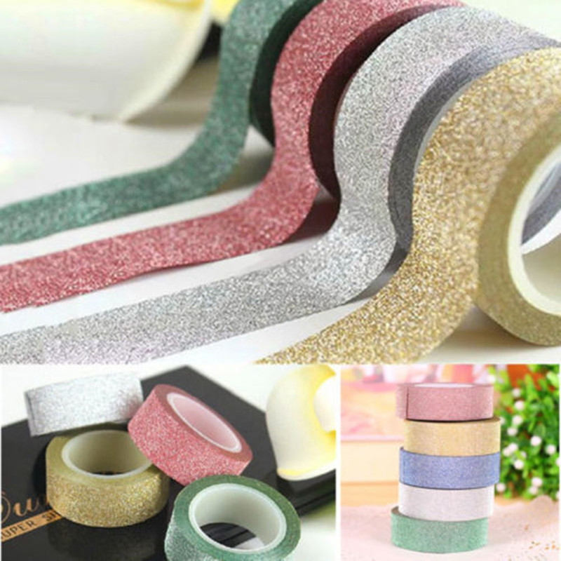 5M Glitter Washi Tape Sticky Paper Masking Adhesive Tape Label DIY Craft Wedding Birthday Festival Decorative Home Decor fire insulation safety gloves heat resistant glove aramid bbq glove oven kitchen glove direct supply forearm protection