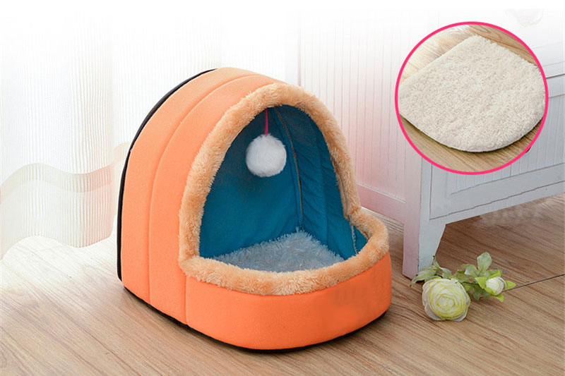 5 Colors Pet Dog Cat Bed Foldable Puppy House With Toy Ball Warm Soft Pet Cushion Dog Kennel Cat Castle (6)