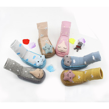 Free shipping 100%cotton Baby socks rubber anti slip floor cartoon kids Toddlers Autumn And Winter Fashion Animal newborn Cute i