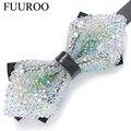 Hombres 2016 Floral cristalino colorido del arco corbatas moda Casual de negocios Rhinestone hombres pajarita de la flor CBJ-T0012