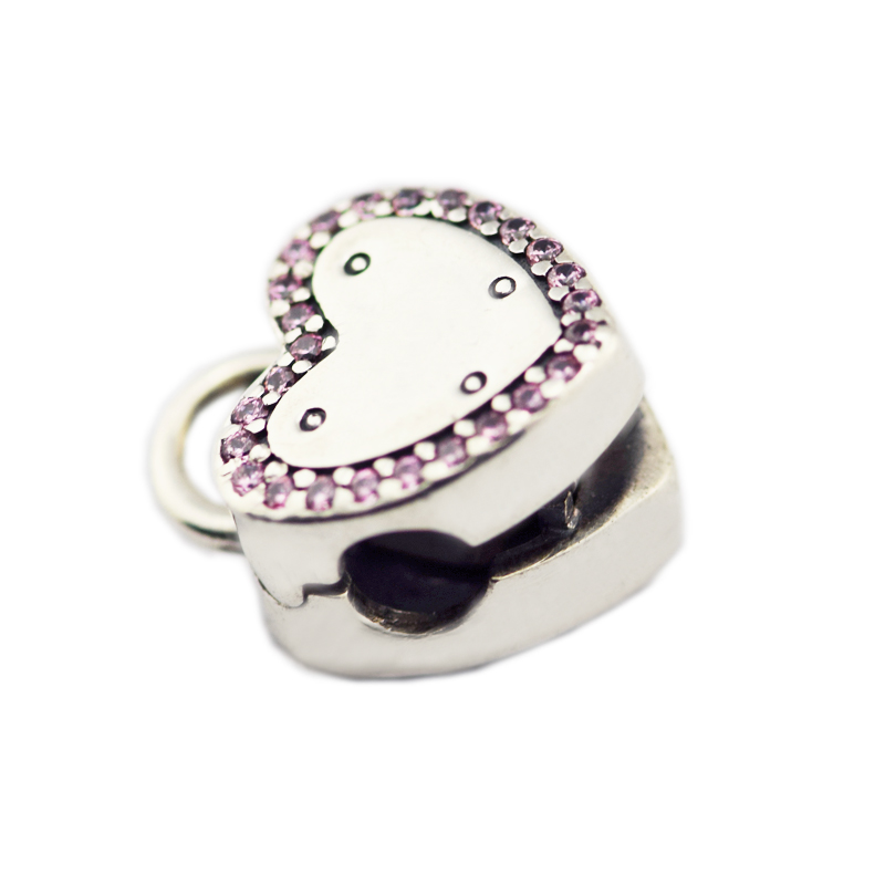 Fits For Pandora Charms Bracelets Lock Your Promise Clip Beads with Pink CZ 100% 925 Sterling-Silver-Jewelry Free ShippingFits For Pandora Charms Bracelets Lock Your Promise Clip Beads with Pink CZ 100% 925 Sterling-Silver-Jewelry Free Shipping
