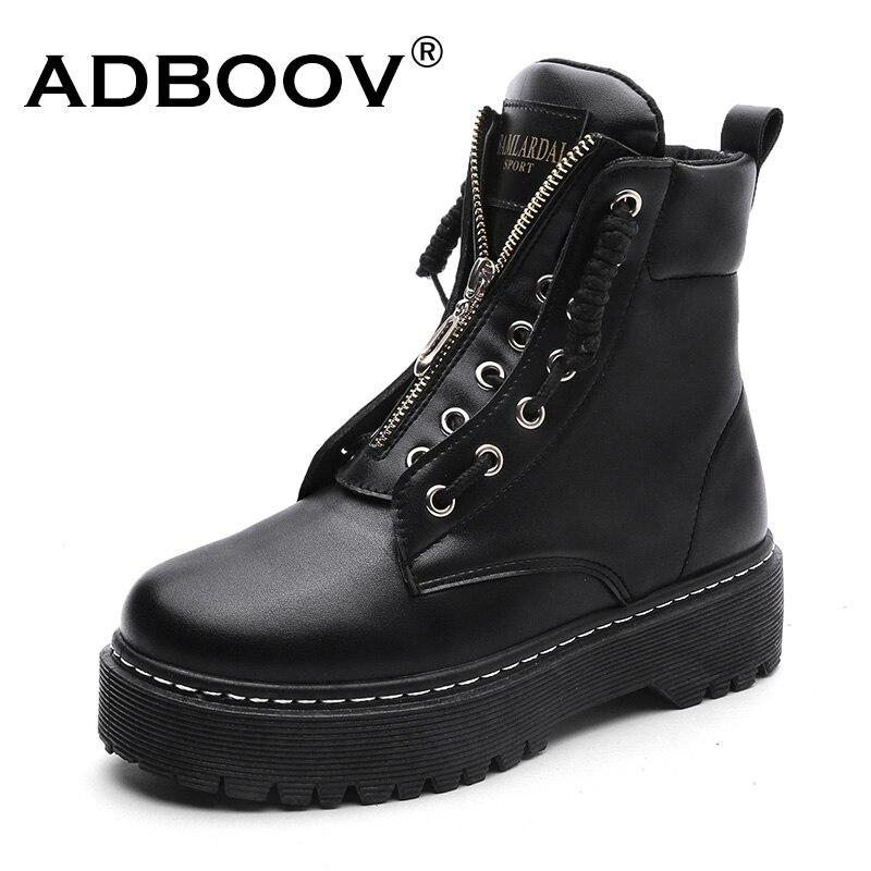 ADBOOV/Новые ботильоны из искусственной кожи, Женская осенне-зимняя обувь на плоской платформе, большие размеры 35-42, Ботинки Martin, мотоботы на мо...