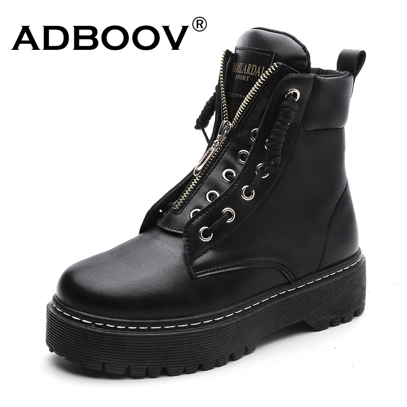 ADBOOV New PU Leather Ankle Boots Women Fall Winter Flat Platform Shoes Plus Size 35 42 Martins Boots Zip Motorcycle Booties