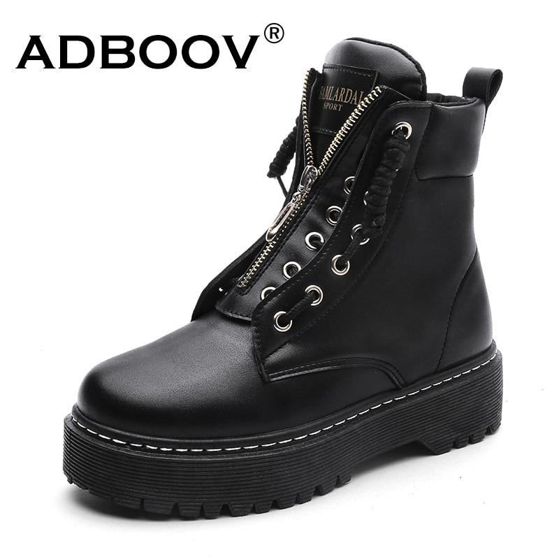 ADBOOV nuevo cuero de la PU de tobillo botas de mujer Otoño Invierno zapatos de plataforma plana de Plus tamaño 35-42 Martins botas de cremallera de zapatos