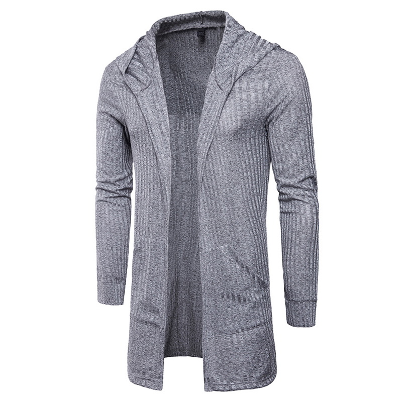 Laamei Cardigan Men Fashion Hooded Spring Autumn Mens Hooded 2018 Middle-Long Length Cardigan Slim Fit Casual Mens Sweatercoat