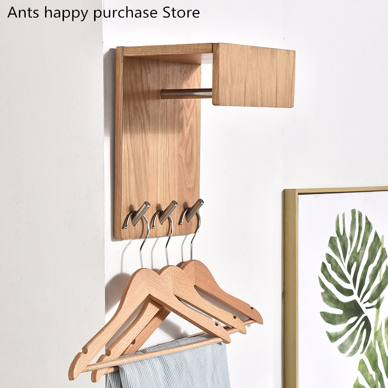 wall Wood Clothes hangers Solid wood bedroom clothes rack Alloy Wall hanging Creative living room hook Corner hat hanger