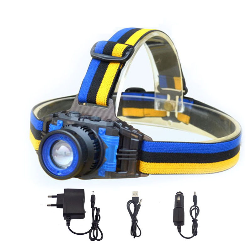 daya tinggi Q5 LED Headlamp Senter Isi Ulang Zoomable Fokus Frontale Head Lamp Torch Headlight untuk Memancing Berkemah Charger