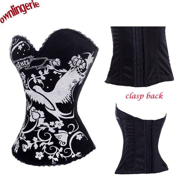 ebfc6f1f65dc3e Padrão phoenix dourado impressão espartilho, sexy modelo animal design  fecho forma das mulheres roupa interior cintura treinamento corsets