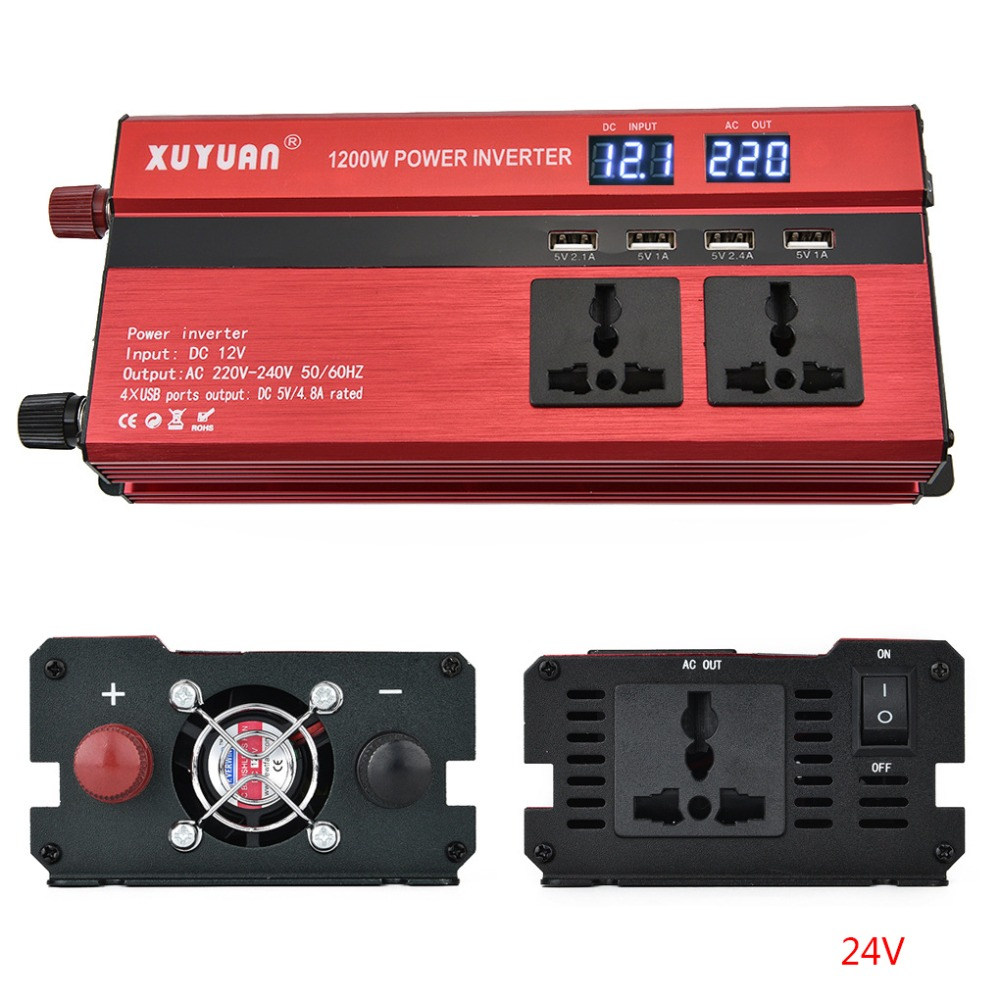 Automobiles & Motorcycles Atv,rv,boat & Other Vehicle 1000w Red Vehicle Dc12v-ac220v Led Power Inverter Converter 4usb Ports Universal Controlador