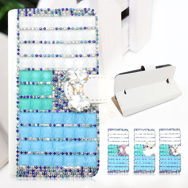 2016 3D Luxury Crystal Diamond PU Leather Flip Phone Case Cover For ZTE warp 7 N9519 Slip Protective Wallet Free DHL