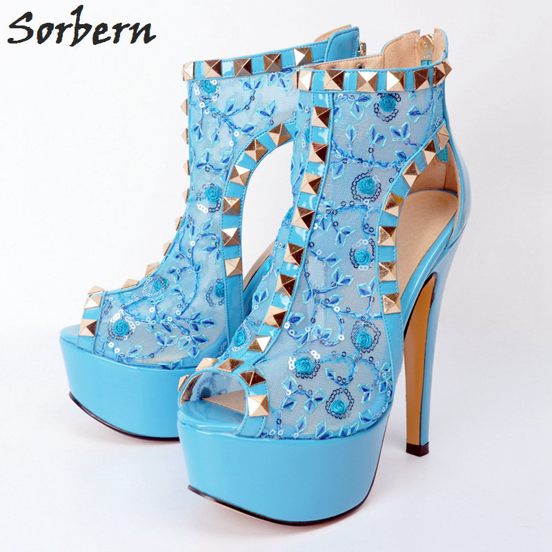 Sorbern Light Blue Lace Women Pumps Plus Size Rivets Peep Toe Zipper High  Heels Ladies High Heel Shoes Sexy Woman Platform P-in Women s Pumps from  Shoes on ... 931cdf404b67