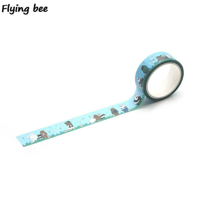 Flyingbee 15mmX5m We Bare Bears Washi Tape Paper DIY Decorative Adhesive Tape Stationery Cute Masking Tapes Supplies X0295