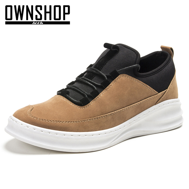 OWNSHOP Men Casual Shoes Gold Black Blue Fashion Design Breathable Men Shoes For Mens Fashion Shoe Lace Up Rubber Sole