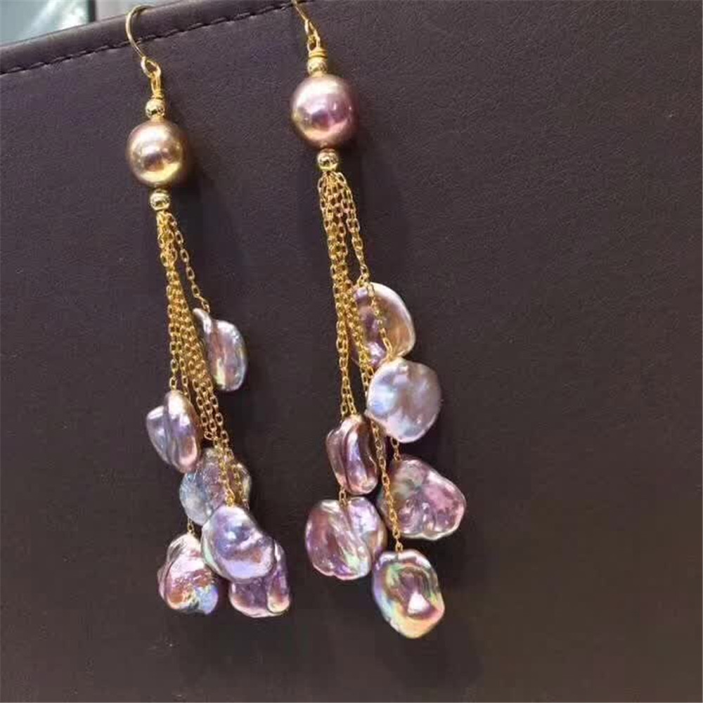 hand made fine jewelry factory wholesale fashionable 14k gold wrap natural pink pearl gemstone tassel pendant earring 2
