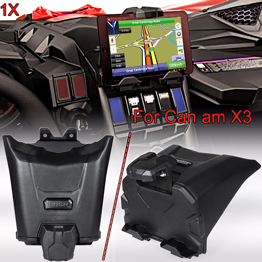 Black Electronic Device Holder With Integrated Storage For 2017-2018 Can Am Maverick X3 Models