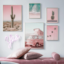 Pink Sea Tree Cactus Nordic Posters And Prints Wall Art Canvas Painting Pictures For Living Room Scandinavian Home Decor