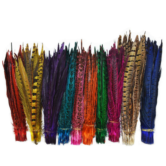 Retail 24 pcs Long 25 to 30cm Natural DIY Pheasant Tail Feather Hair Extension Centerpieces for Wedding Decorations IF16