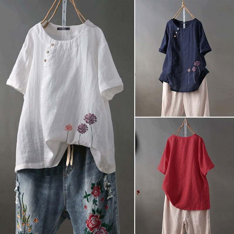 2019 New ZANZEA Plus Size Women Summer Blouse Ladies Work Office Tops Embroidery Flowers Shirts Cotton Loose Blusas Femininas