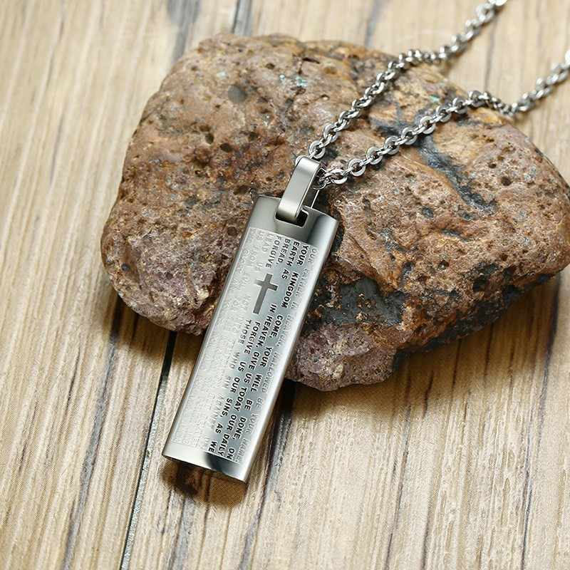Men's Cross Bilble Necklaces Silver Tone Stainless Steel Religious Prayer Male Jewelry