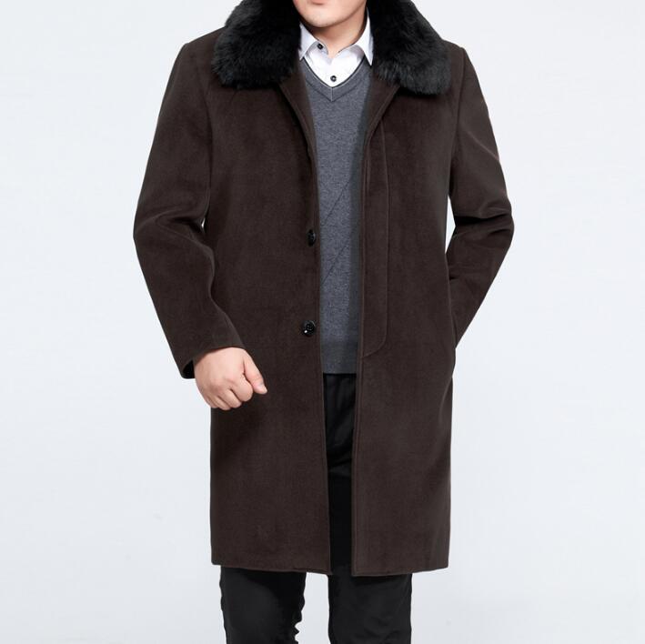Winter quinquagenarian turn-down collar wool coats mens medium-long trench coat single-breasted plus velvet thickening plus size