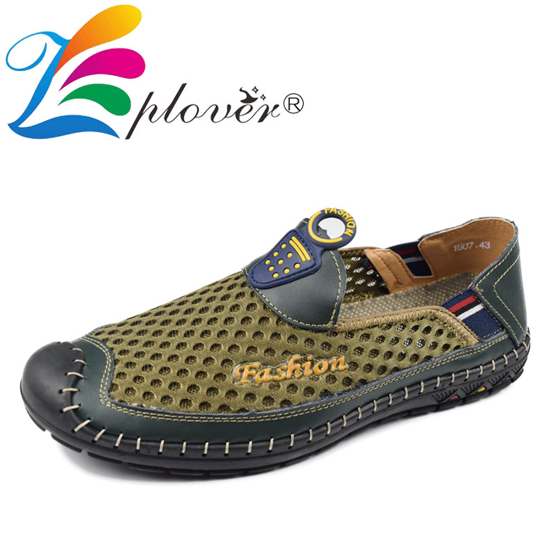 Mens Shoes Casual Summer Breathable Mesh Shoes Men Trainers Fashion Leather Flats Loafers Big Size Casual Shoes For Men Loafers brand new fashion summer spring men driving shoes loafers pu leather boat shoes breathable male casual flats loafers big size